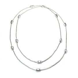 "Bulgari Parentesi 18k White Gold 11 Station Chain Necklace 35"" Long"