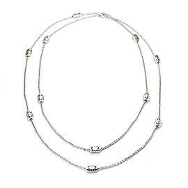 "Bulgari Parentesi 18k White Gold 11 Station Chain Necklace 35"" Long"