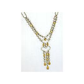 Estate 2.50ct Fancy Yellow & White Diamonds Double Strand Open Heart Necklace