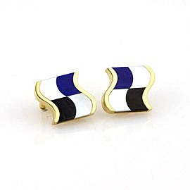 Tiffany & Co.18k Y/Gold Mother of Pearl Lapis Lazuli & Black Onyx Stud Earrings