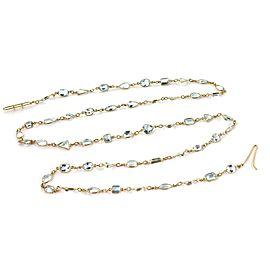 "18k Yellow Gold 60.20 Carats Aquamarine Gem Assorted Shape 34"" Long Necklace"