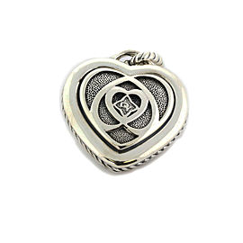 David Yurman Puffed Heart Cable Sterling Silver Pendant