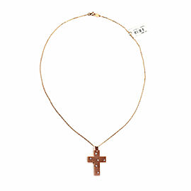 Damiani Diamond 18k Rose Gold Medium Cross Pendant & Chain