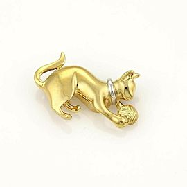 Estate Playful Cat & Ball 18k Yellow Gold Brooch Pin