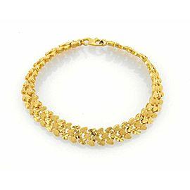 Estate 22k Gold Textured Heart Link 8mm Wide Bracelet