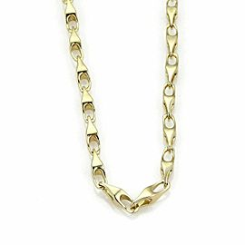 Vintage 14k Yellow Gold Elongated Fancy Shape Chain Link Necklace