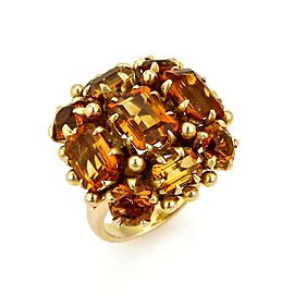 Estate Citrine Square Cluster 14k Yellow Gold Ring