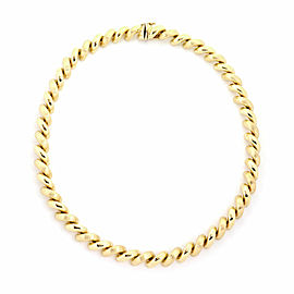 """San Marco Italy 14k Yellow Gold Macaroni Link Necklace 17.5"""" Long"""