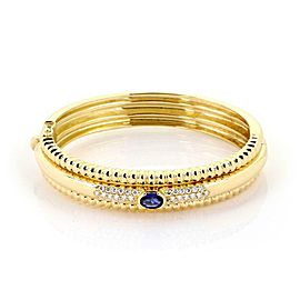 Piaget 1.95ct Diamond & Sapphire 18k Yellow Gold Triple Row Fancy Bracelet