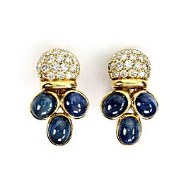 Giovane 16.50ct Diamond & Sapphire 18k Yellow Gold Fancy Clip On Earrings