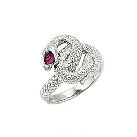 Ruby 18k White Gold Textured Coiled Snake Ring