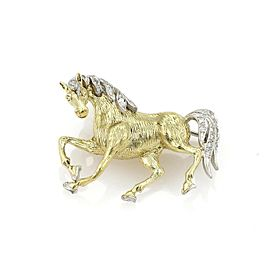 Estate Diamond 18k Two Tone Gold Horse Brooch Pin