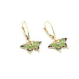 14k Yellow Gold Enamel Butterfly Drop Dangle Earrings