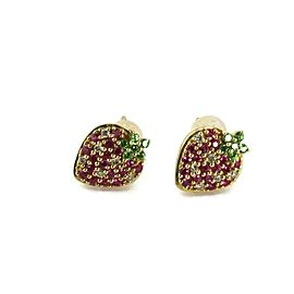 18k Yellow Gold Diamond Ruby & Tsavorite Strawberry Stud Earrings