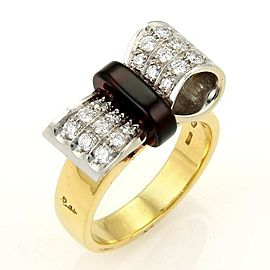 Pomellato Diamond & Garnet 18k Yellow Gold Bow Ring