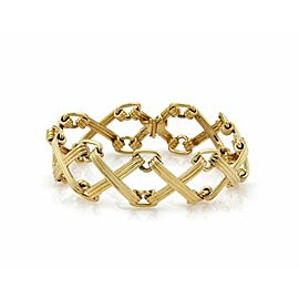 Tiffany & Co. Schlumberger Wide 18k Yellow Gold X Design Link Bracelet