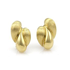 Henry Dunay 18k Yellow Gold Textured Triple Tear Drop Post Clip Earrings
