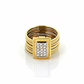 Damiani Diamond 18k Two Tone Gold Multi Wire Stack Flex Band Ring Size 5.5