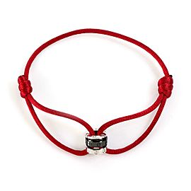 Cartier Love Diamond 18k Gold & Ceramic 3 Charms Red Cord Charity Bracelet