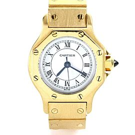 Cartier Santos 18k Yellow Gold Automatic Octagon Ladies Wrist Watch