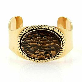 Estate 14k Yellow Gold Oval Tiger's Eye Large Cuff Bracelet