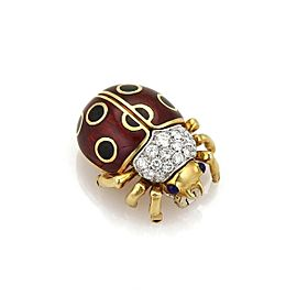 Tiffany & Co. Diamond 18k Yellow Gold Enamel Mini Bug Brooch Pin