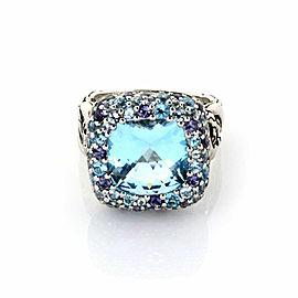John Hardy Batu Blue Topaz & Amethyst Sterling Silver Square Ring Size 8