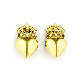 Kieselstein Cord Diamond 18k Yellow Gold Crown Heart Clip On Earrings