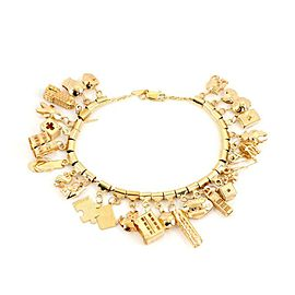 14k Yellow Gold 28 Assorted Shape & Size Dangling Charms Chain Bracelet