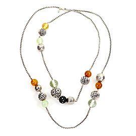 "David Yurman Elements 925 Silver & Gems Beaded Chain Necklace Paper 41""Long"
