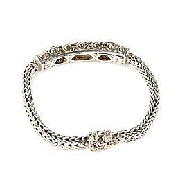 John Hardy Jaisalmer Citrine Sterling 18k Gold Curved Bar Weave Link Bracelet