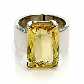H.Stern Yellow Beryl & Diamond 18k White Gold Large Rectangular Ring Size 7.5