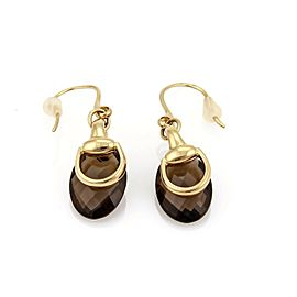 Gucci Smokey Quartz 18k Yellow Gold Horsebit Hook Dangle Earrings