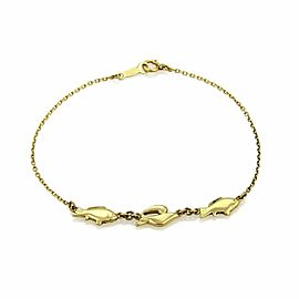 Mikimoto 18k Yellow Gold 3 Fish Charm Chain Bracelet