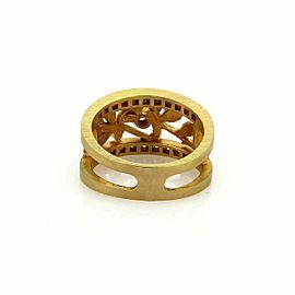 Masriera Diamond Enamel Floral Open Fancy 18k Yellow gold Band Ring Size 6.5