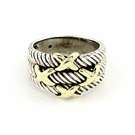 David Yurman Sterling 14k Yellow Gold Triple Cable X Design Band Ring Size 6.5
