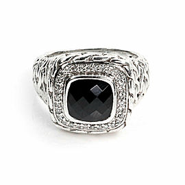 John Hardy Diamond Onyx Sterling Silver Wheat Design Square Top Ring Size 8
