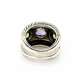 David Yurman Renaissance Amethyst Peridot Sterling & 14k Gold Band Ring