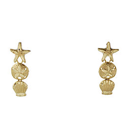 Diamond Cut Design Starfish Sea Shell 14k Yellow Gold Dangle Earrings