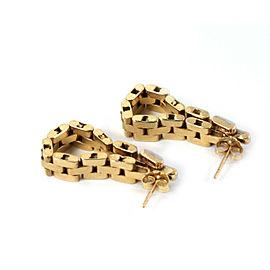 Diamond 14k Gold Link 6mm Wide Long Dangle Chain Earrings