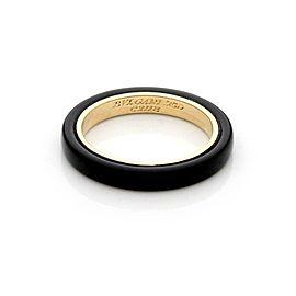 Bvlgari Bulgari Vintage 18k Yellow Gold Onyx 3mm Band Ring Size 6