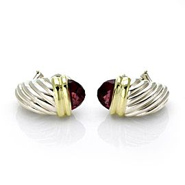 David Yurman Garnet Sterling 18k Gold Shrimp Cable Post Clip Earrings