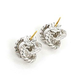 Tiffany & Co. Sterling Silver 18k Gold Cable Wire Love Knot Stud Earrings