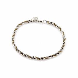 59597 Tiffany & Co. Sterling 18k Yellow Gold Twisted Rope Chain Bracelet
