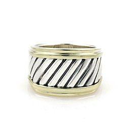 David Yurman Sterling Silver 14k Yellow Gold Cigar Band Ring Size - 6