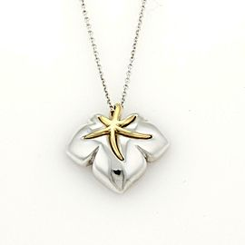 """Tiffany & Co. 1991 """"Ivy"""" Sterling 18k YGold Starfish Leaf Pendant & Chain"""