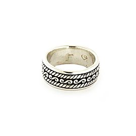 John Hardy Men's Sterling Silver 9.5mm Wide Band Ring Size 10.5