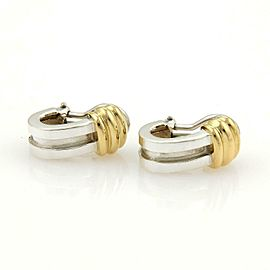 Tiffany & Co. ATLAS 1995 Sterling 18k Yellow Gold Grooved Clip On Earrings