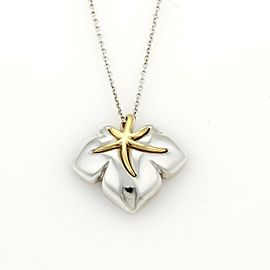 """Tiffany & Co. 1991 """"Ivy"""" Sterling 18k YGold Starfish Leaf Pendant Necklace"""