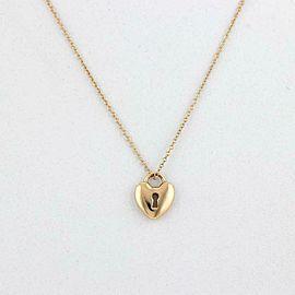 Tiffany & Co. Heart Padlock 18k Yellow Gold Pendant & Chain